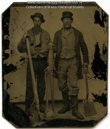 Two log drivers, Bangor, ca. 1865