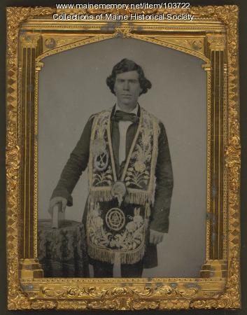 Man wearing Masonic regalia, ca. 1860