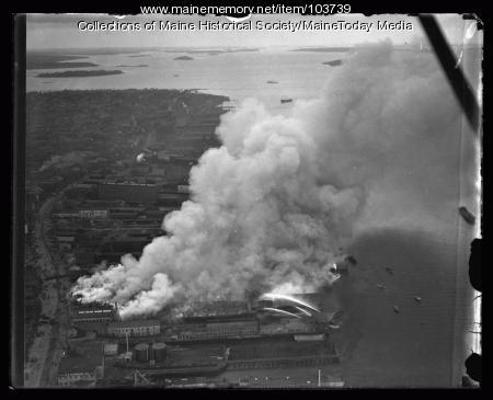 Fire on Hobson's Wharf, Portland, 1934