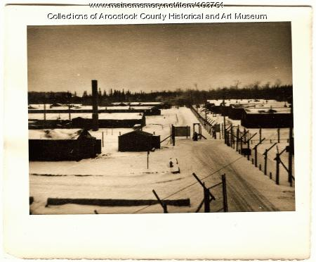 POW stockades with buildings at Camp Houlton Air Base, Houlton, ca. 1945