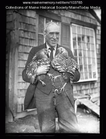 V. W. Libby and two of his prize Silver Laced Wyandottes, South Portland, 1926
