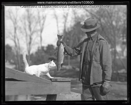 Albert Plummer at Raymond State Fish Hatchery, 1936