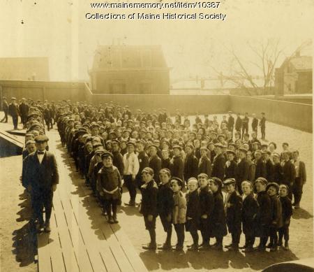Boys outside North School, 1911