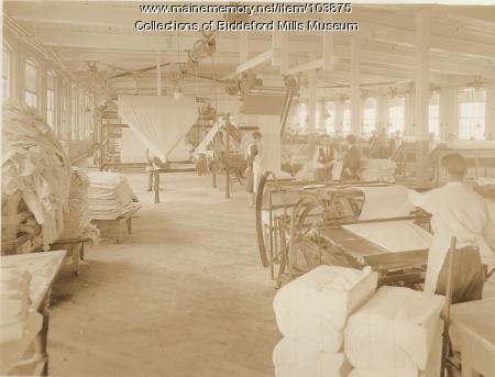 Pepperell Mills finishing room, Biddeford, ca. 1925