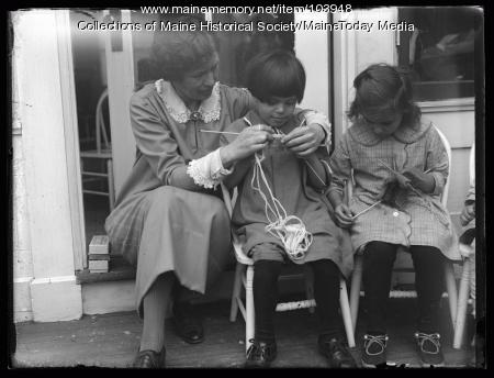 Knitting lesson, Portland Day Nursery, ca. 1925