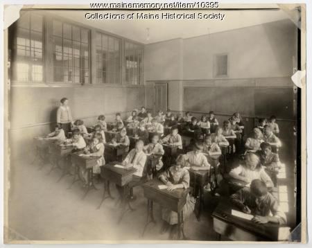 Students writing, North School, Portland, ca. 1910