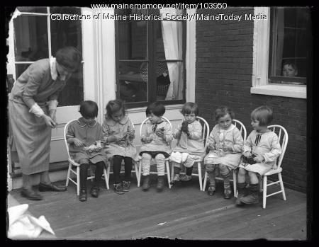 Children knitting at the Portland Day Nursery, Portland, 1923