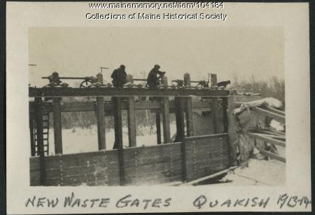 New Waste Gates at North Twin Dam, Millinocket, ca. 1914