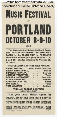 Portland Music Festival flyer, Portland, 1923