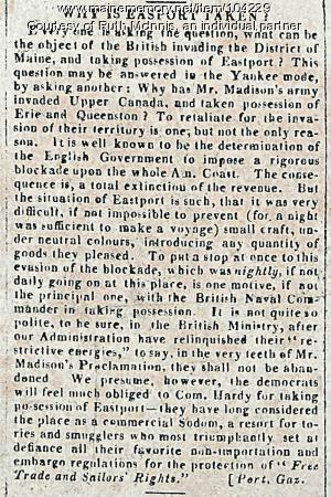 Why was Eastport taken? Boston Gazette, 1814