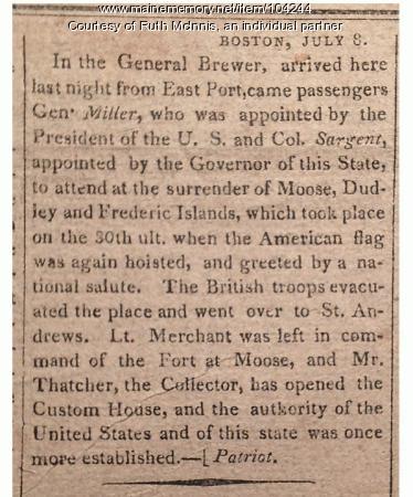 British leave Eastport, 1818