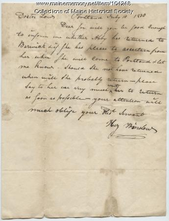 Letter to Nathaniel Low from Henry Winslow, Portland, 1830
