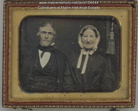 Daguerreotype of an elderly couple, Portland, ca. 1852