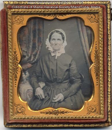 Sixth plate daguerreotype of unidentified woman, Portland, ca. 1848
