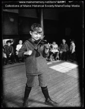 Item 104611 - Boy playing violin, 1924 - Vintage Maine Images