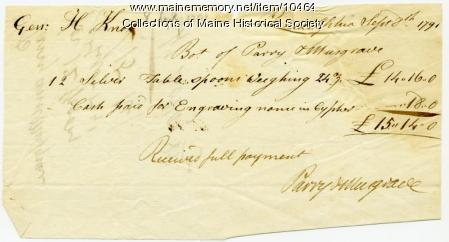 Bill to Henry Knox from Parry & Musgrave, September 8, 1791