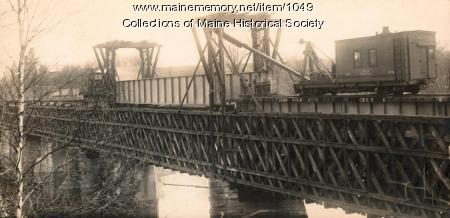 Rebuilding the old railroad bridge, Norridgewock, ca. 1900