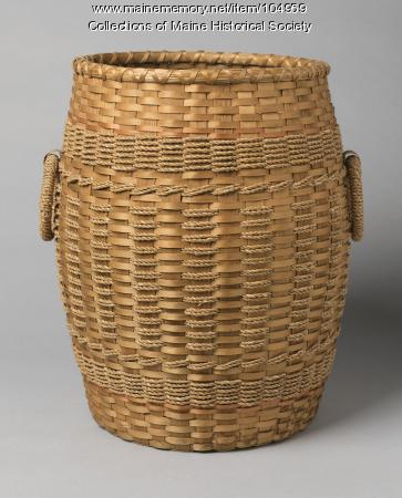 Philomene Nelson barrel basket, Indian Island, ca. 1945