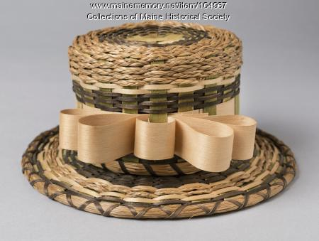 Passamaquoddy basket in the shape of a hat, ca. 1950