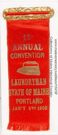 Maine Laundrymen's Association badge, 1903
