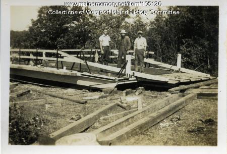 The last ferry under construction, Westport Island, 1938