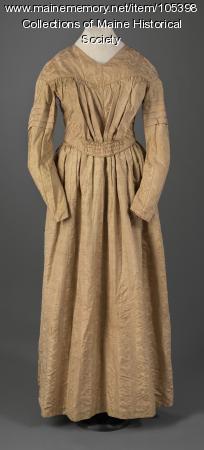 Victoria Mansion gold silk dress, Portland, ca. 1840