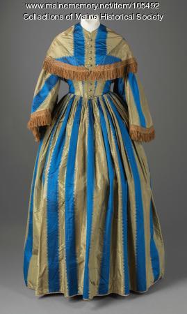 Helen Bancroft Hay's cameo-button striped dress, Portland, ca. 1860