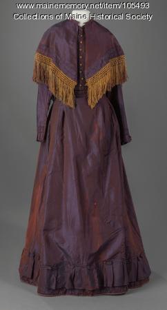 Iridescent shot silk crinoline dress, Farmington, ca. 1869