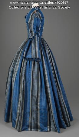 Almina Deering's striped dress with velvet trim, Waterboro, ca. 1856