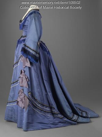 Lace and fringe trimmed walking dress, ca. 1865