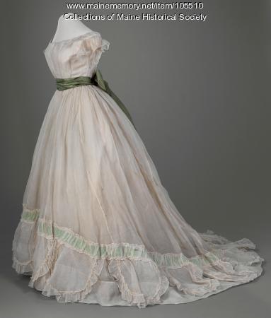 Gauze evening dress with silk sash, ca. 1865