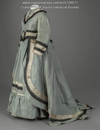 Adekaide Elder's basque dress with layered overdress, Portland, ca. 1872