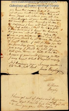 Jean Bayley letter to son, July 12, 1781