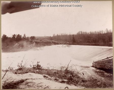 Water flowing over Pejepscot Dam, Topsham, 1896