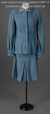Minimalist wool skirt suit, ca. 1943