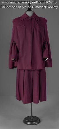 Plum skirt suit with cape, ca. 1945