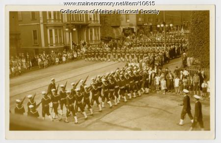 Parade with military personnel, ca. 1920