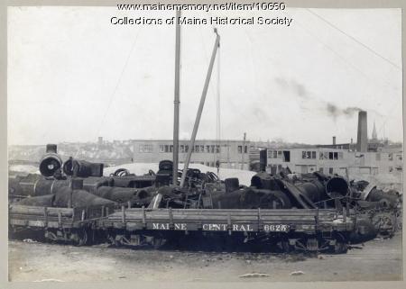 Scrap waiting for loading, Portland, ca. 1909