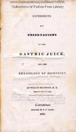 Title page of book on digestion, Bath, 1833