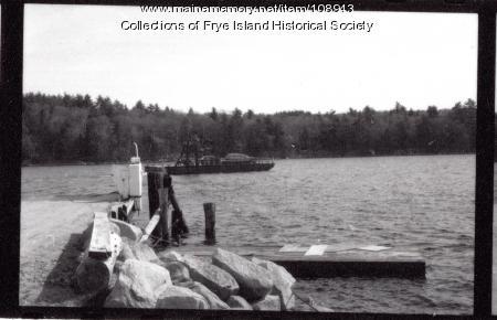 Ferry leaving Frye Island, ca. 1970