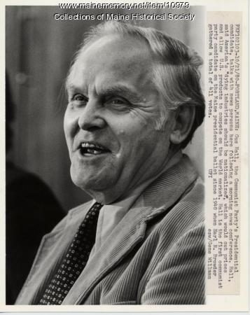 Gus Hall, presidential candidate, 1980