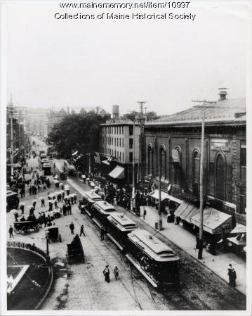 Trolley, Monument Square, Portland, ca.1900