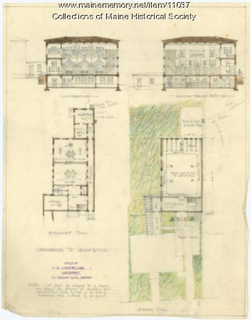 Drawing for Maine Historical Society headquarters, ca. 1902