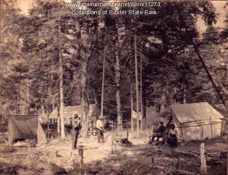 At campsite, near Millinocket, ca. 1900
