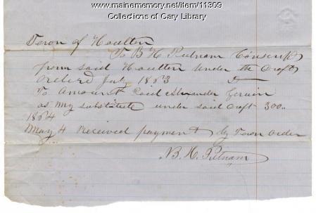 Putnam payment for conscription substitute, Houlton, 1864