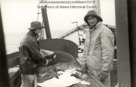 Fishermen on boat, ca. 1930