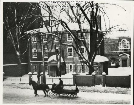 Wadsworth-Longfellow House in winter, ca. 1920