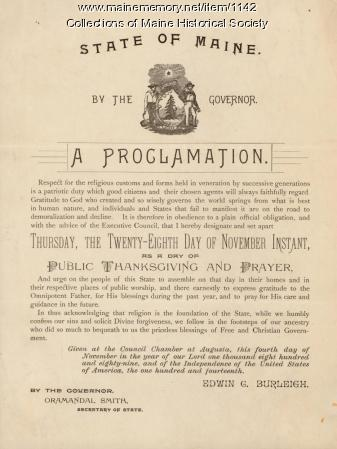 Thanksgiving proclamation, 1889
