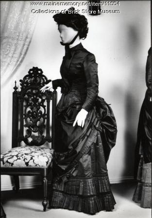 Two piece brown satin dress worn by Mrs. Henry G. Thayer, 1880