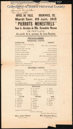 St. John Church benefit program, Brunswick, 1915